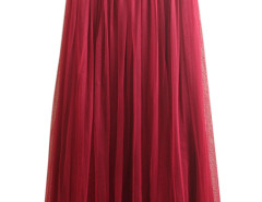 Wine Red High Waist Pleat Mesh Tulle Midi Skirt Choies.com online fashion store United Kingdom Europe