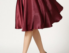 Wine Red High Waist Skater Midi Skirt Choies.com online fashion store United Kingdom Europe
