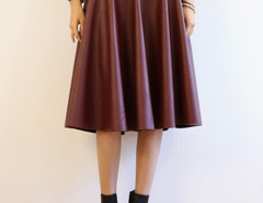 Wine Red PU High Waist Skater Skirt Choies.com online fashion store United Kingdom Europe