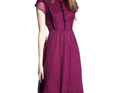 Wine Red Stand Collar Cap Sleeve Ruffle Trims Pleat Dress Choies.com online fashion store United Kingdom Europe