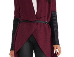 Wine Red Waterfall Tie Waist PU Panel Long Sleeve Coat Choies.com online fashion store United Kingdom Europe