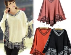 Women Batwing Sleeve Tassels Hem Style Cloak Poncho Knitting Sweater Cndirect online fashion store China