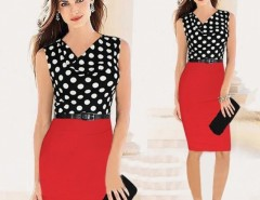 Women Belted Polka Dot Draped Neck Color Block Wear to Work Party Bodycon Dress Cndirect online fashion store China
