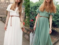 Women Bohemia Long Beach Dress With Belt Cndirect online fashion store China