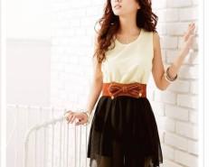 Women Chiffon + Cotton blended sleeveless Top Mini Dress With Belt Cndirect online fashion store China