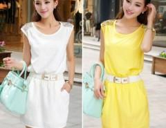 Women Chiffon OL Sleeveless Knee-Length Tank dress with belt Cndirect online fashion store China