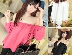 Women Chiffon Off Shoulder Long Sleeve Loose T-shirt Tops Cndirect online fashion store China