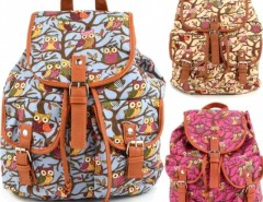 Women Cute Cartoon Owls Pattern Canvas Backpack Shoulder Bag Students Schoolbag Book Bag Cndirect online fashion store China