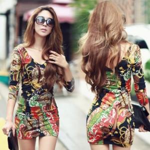 Women Deep V-neck Long Sleeve Slim Fit Pattern Dress Cndirect online fashion store China