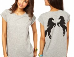 Women Double Standing Horse Print In Back Rolling Sleeve T-Shirt Cndirect online fashion store China