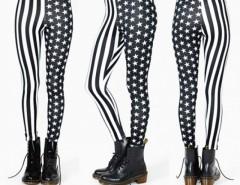 Women Elastic Stripe Splicing Star Leggings Tights Pencil Pants Cndirect online fashion store China