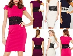 Women Elegant Bodycon Pencil Casual Dress with Belt Cndirect online fashion store China