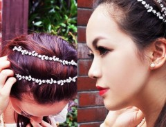Women Fashion Silver Crystal Flower Elastic Hair Band Headband Cndirect online fashion store China