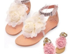 Women Flat  Pu Leather Buckle Big Flower Leisure Sandals Cndirect online fashion store China