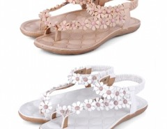 Women Flower Beads Flip-flop Shoes Flat Sandals Cndirect online fashion store China
