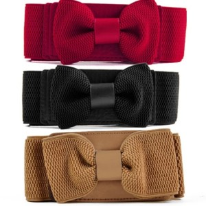 Women Girls Graceful Bowknot Elastic Lovely Belt With Buckle Waistband New ER99 Cndirect online fashion store China