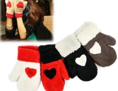 Women Gloves Cute Love Heart Warm Full Mittens Gloves Cndirect online fashion store China