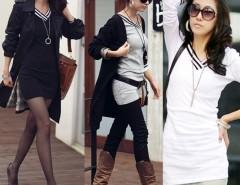 Women Lady Casual Long Sleeve V-Neck Cotton T-Shirt Mini Dress Cndirect online fashion store China