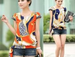 Women Lady Chiffon Short Sleeve Casual T-shirt Blouse Tops 3 Sizes Fashion Cndirect online fashion store China