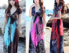 Women Lady Vintage Sexy Leopard Print V-Neck Floral Retro Pleated Beach Dress Cndirect online fashion store China