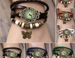 Women Leather Wrist Watch Bracelet Retro Butterfly Pendant Weave Wrap Quartz Cndirect online fashion store China