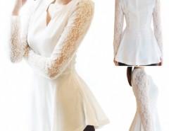 Women Long Sleeve Lace Chiffon Shirt Flared Blouse Top Sexy T-shirt Cndirect online fashion store China