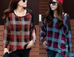 Women Loose Bat Sleeve T-shirt Check Plaid Pattern Cndirect online fashion store China