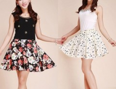 Women Retro High Waist Pleated Floral Chiffon Sheer Short Mini Skirt with Belt Cndirect online fashion store China