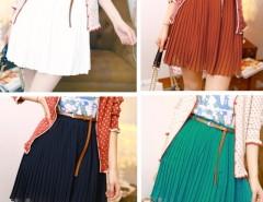 Women  Retro Pleated Mini Skirts Chiffon Waist With Belt Cndirect online fashion store China
