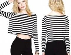 Women Rock Girl Stripe Long Sleeve T-Shirt Short Crop Top Blouse Cndirect online fashion store China