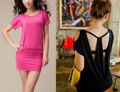 Women Round-neck Short Sleeve Off-shoulder Jumpsuit Mini Dress 3Colors Cndirect online fashion store China