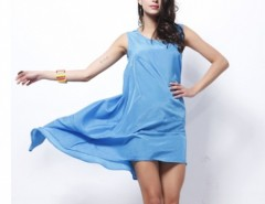 Women Satin Sleeveless Overall Beach Dress Holiday Summer Irregular Dress Cndirect online fashion store China