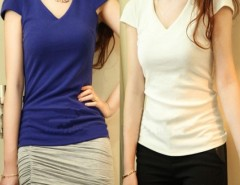 Women Solid T-shirt Tops V Collar Cndirect online fashion store China