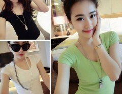 Women Spring Summer 5 colors V-neck Cotton t-shirt Short Sleeve Blouse Tops Tee Cndirect online fashion store China