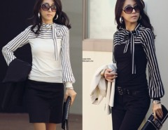Women Stripes Long Puff Sleeve Cotton Casual Tops Blouses T-Shirt Cndirect online fashion store China