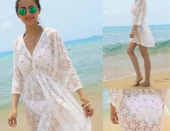 Women Summer Sexy Lace Floral Short Sleeve Swimwear Bikini Cover Up Beach Dress Sundress Cndirect online fashion store China