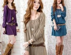 Women Sweet Long Sleeve Slim Waist Cotton Blend Dress With Belt Cndirect online fashion store China