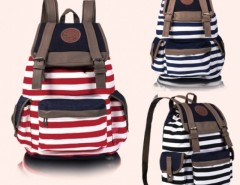 Women Unisex Backpack Canvas Stripe Leisure Bags School Bag Cndirect online fashion store China