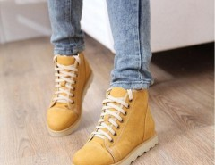 Women Vintage PU Leather Lace Up Snow Ankle Boots Flat Shoes Cndirect online fashion store China