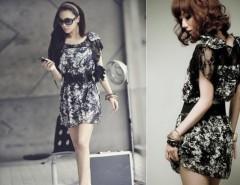 Women's Korea Sexy Lace Chiffon Mini Dress With Belt Cndirect online fashion store China