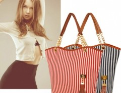 Women's Striped Canvas Tote Shoulder Bag Chain Handbag Cndirect online fashion store China
