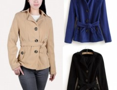 Women's Belted Wool Blend Convertible Funnel Neck Collar Coat Jacket Cndirect online fashion store China