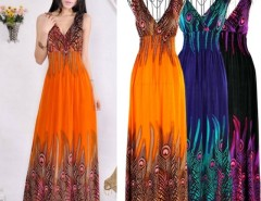 Women's Bohemian Peacock Tail Hawaiian V-neck Long Beach Dress Cndirect online fashion store China