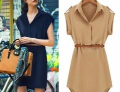 Women's Cap Sleeve Stretch Chiffon Casual Shirt Mini Dress With Belt Cndirect online fashion store China