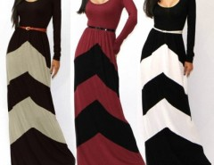 Women's Celeb Style Long Sleeve Slim Maxi Dress With Belt Beach Long Dress Cndirect online fashion store China