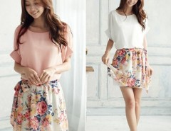Women's Charming Summer Round Neck Chiffon Short Sleeve Floral Casual Dress Cndirect online fashion store China