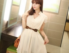 Women's Chiffon Fashion Casual Sweet Slim Short Sleeve Dress With Belt Cndirect online fashion store China