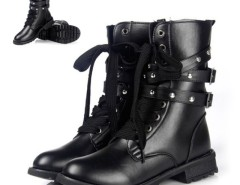 Women's Cool Punk Military Army Knight Lace-up Short Boots Black Cndirect online fashion store China
