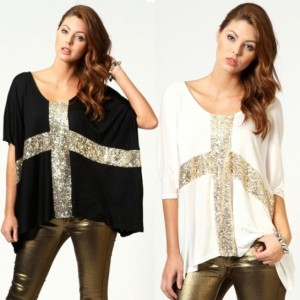 Women's Cross Sequins Decor Low Round Neck Loose T-shirt Cotton Cndirect online fashion store China