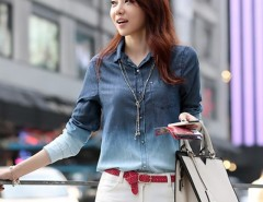 Women's Denim Gradual Blue Jeans single-breasted Long Sleeve Shirt Blouse Cndirect online fashion store China